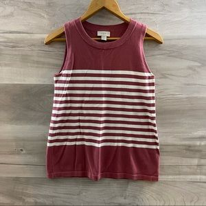 Loft Pink and White Striped Sweater Vest/Tank